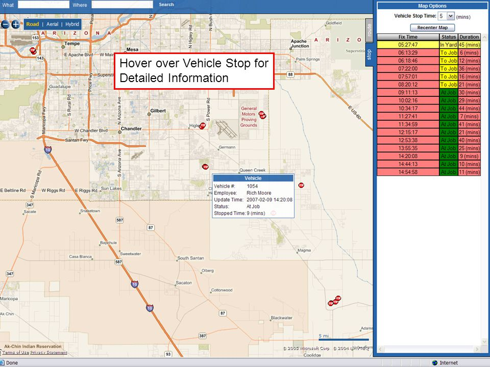 Hover over Vehicle Stop for Detailed Information