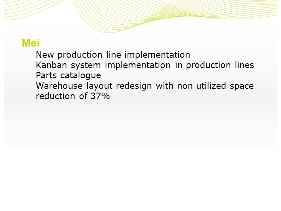 Mei New production line implementation Kanban system implementation in production lines Parts catalogue Warehouse layout redesign with non utilized space reduction of 37%
