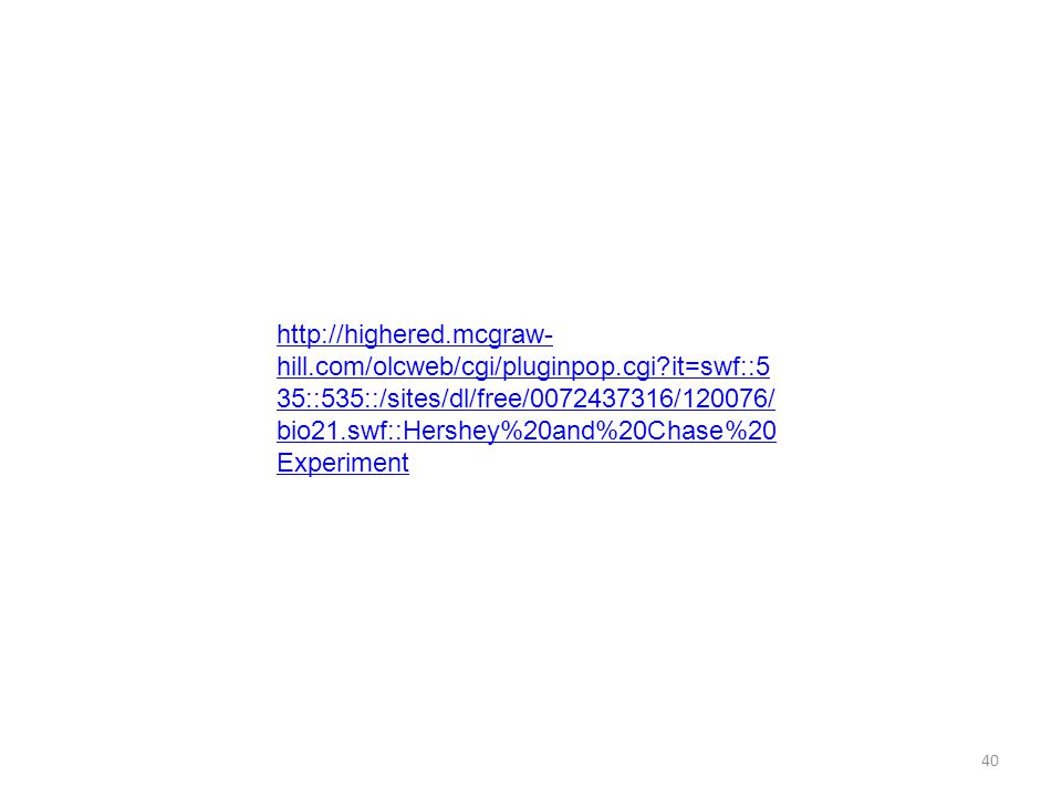 40 http://highered.mcgraw- hill.com/olcweb/cgi/pluginpop.cgi?it=swf::5 35::535::/sites/dl/free/0072437316/120076/ bio21.swf::Hershey%20and%20Chase%20