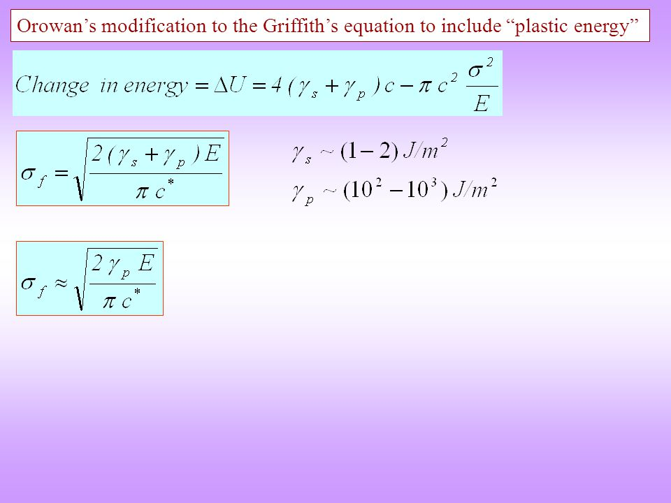 """Orowan's modification to the Griffith's equation to include """"plastic energy"""""""