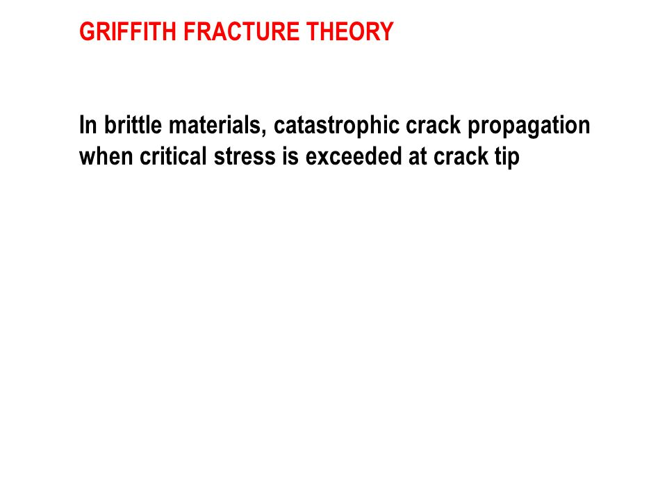 GRIFFITH FRACTURE THEORY In brittle materials, catastrophic crack propagation when critical stress is exceeded at crack tip