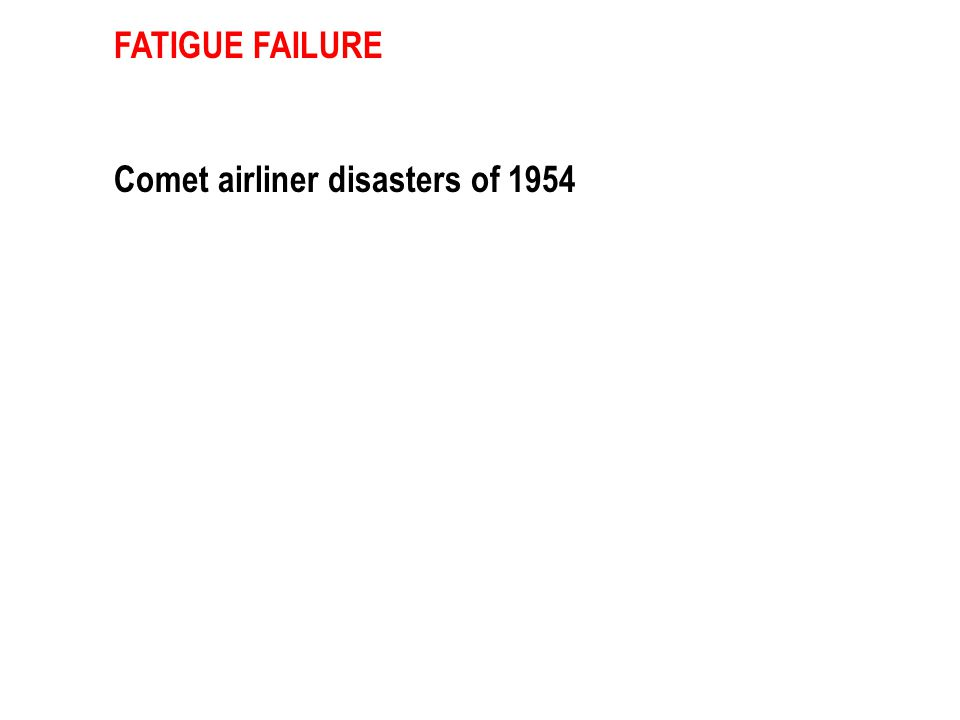FATIGUE FAILURE Comet airliner disasters of 1954