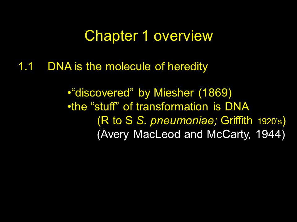 """Chapter 1 overview 1.1DNA is the molecule of heredity """"discovered"""" by Miesher (1869) the """"stuff"""" of transformation is DNA (R to S S. pneumoniae; Griff"""