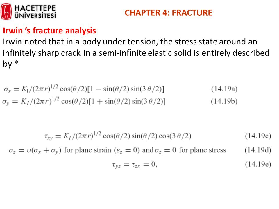 CHAPTER 4: FRACTURE Irwin 's fracture analysis Irwin noted that in a body under tension, the stress state around an infinitely sharp crack in a semi-i