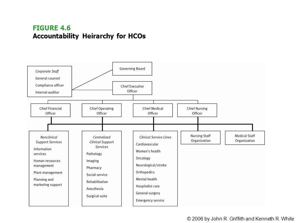 © 2006 by John R. Griffith and Kenneth R. White FIGURE 4.6 Accountability Heirarchy for HCOs