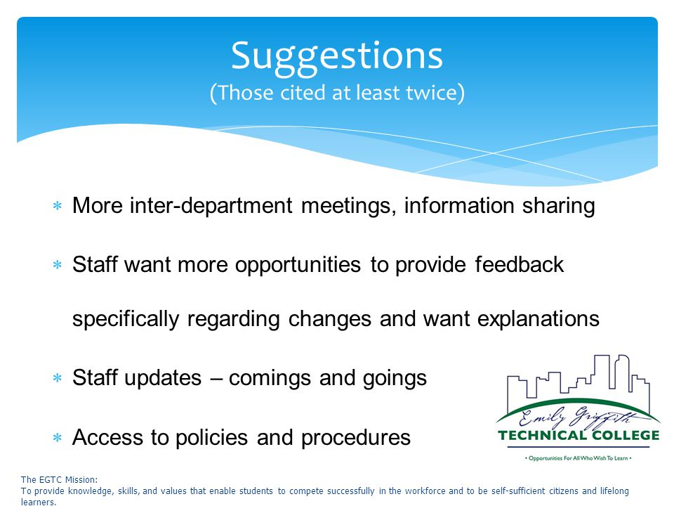  More inter-department meetings, information sharing  Staff want more opportunities to provide feedback specifically regarding changes and want explanations  Staff updates – comings and goings  Access to policies and procedures Suggestions (Those cited at least twice) The EGTC Mission: To provide knowledge, skills, and values that enable students to compete successfully in the workforce and to be self-sufficient citizens and lifelong learners.