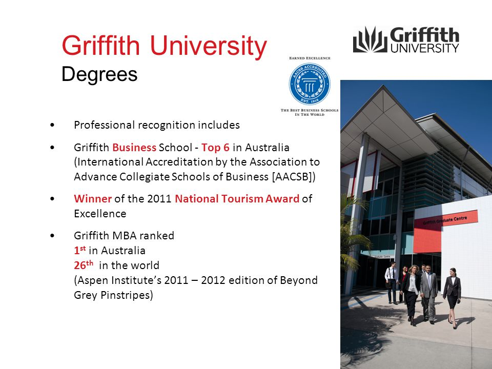 Griffith University Degrees Professional recognition includes Griffith Business School - Top 6 in Australia (International Accreditation by the Association to Advance Collegiate Schools of Business [AACSB]) Winner of the 2011 National Tourism Award of Excellence Griffith MBA ranked 1 st in Australia 26 th in the world (Aspen Institute's 2011 – 2012 edition of Beyond Grey Pinstripes)
