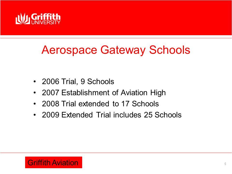 Information Services 6 Aerospace Gateway Schools 2006 Trial, 9 Schools 2007 Establishment of Aviation High 2008 Trial extended to 17 Schools 2009 Extended Trial includes 25 Schools Griffith Aviation