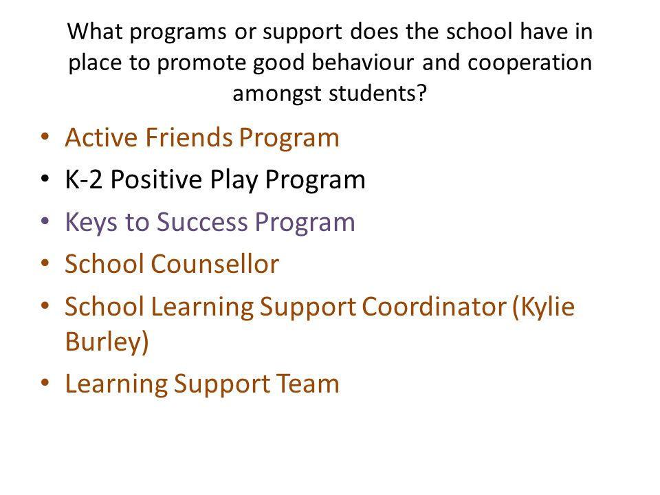 What programs or support does the school have in place to promote good behaviour and cooperation amongst students.