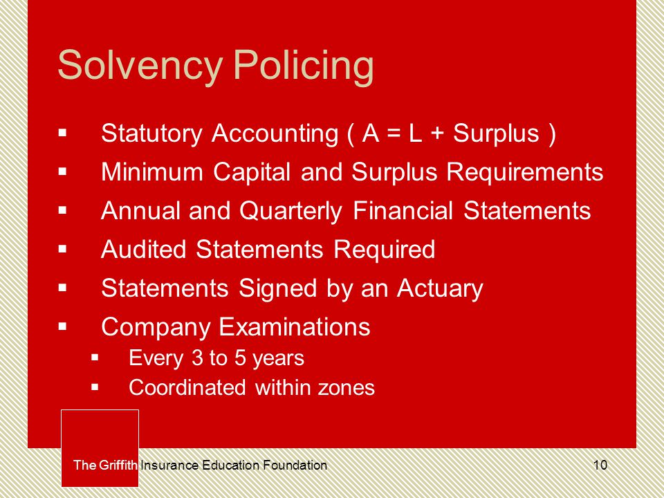 10 Solvency Policing  Statutory Accounting ( A = L + Surplus )  Minimum Capital and Surplus Requirements  Annual and Quarterly Financial Statements  Audited Statements Required  Statements Signed by an Actuary  Company Examinations  Every 3 to 5 years  Coordinated within zones The Griffith Insurance Education Foundation