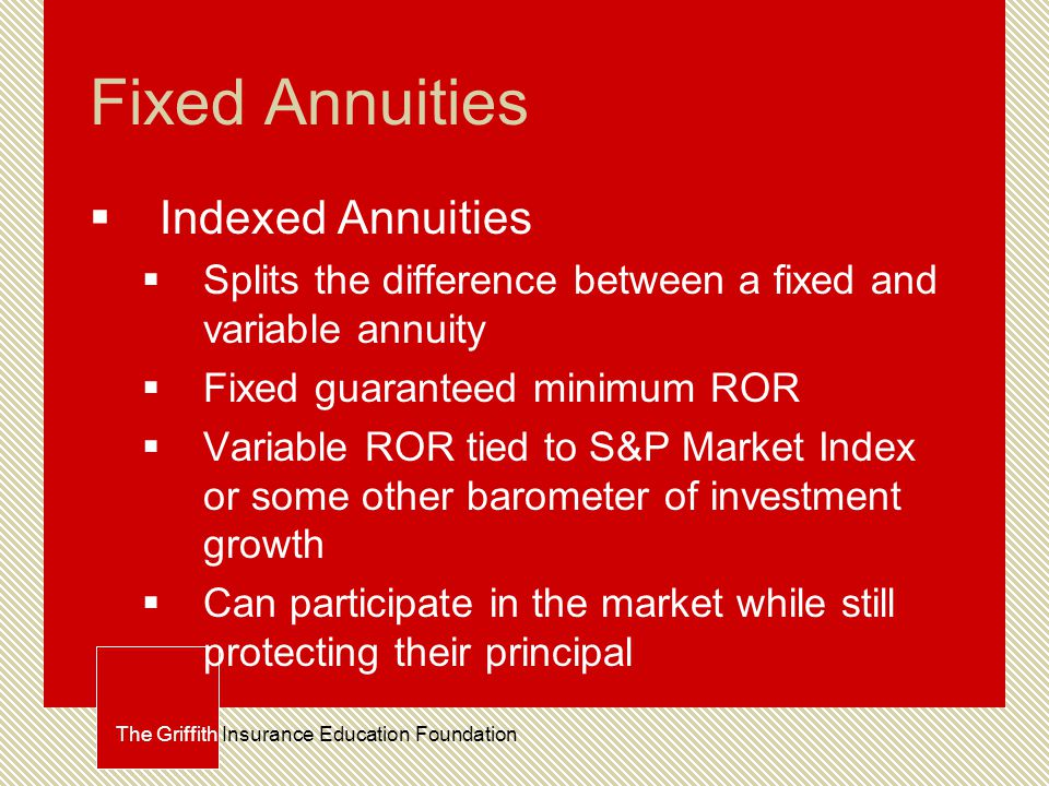 Fixed Annuities  Indexed Annuities  Splits the difference between a fixed and variable annuity  Fixed guaranteed minimum ROR  Variable ROR tied to S&P Market Index or some other barometer of investment growth  Can participate in the market while still protecting their principal The Griffith Insurance Education Foundation