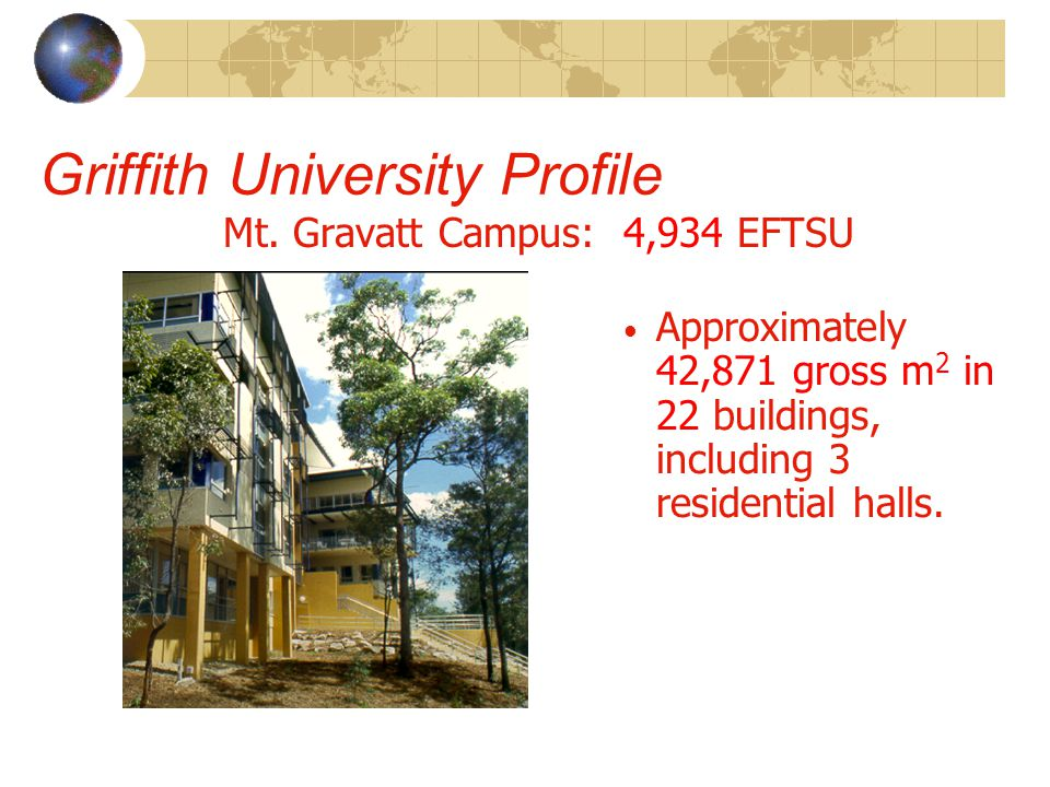 Griffith University Profile Mt. Gravatt Campus: 4,934 EFTSU Approximately 42,871 gross m 2 in 22 buildings, including 3 residential halls.