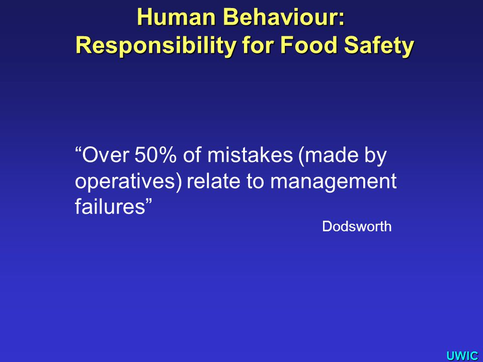 UWIC Over 50% of mistakes (made by operatives) relate to management failures Dodsworth Human Behaviour: Responsibility for Food Safety Responsibility for Food Safety