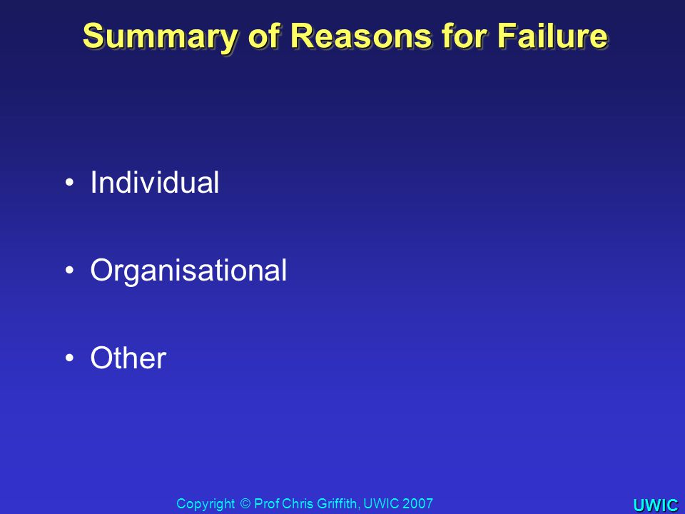 UWIC Summary of Reasons for Failure Individual Organisational Other Copyright © Prof Chris Griffith, UWIC 2007