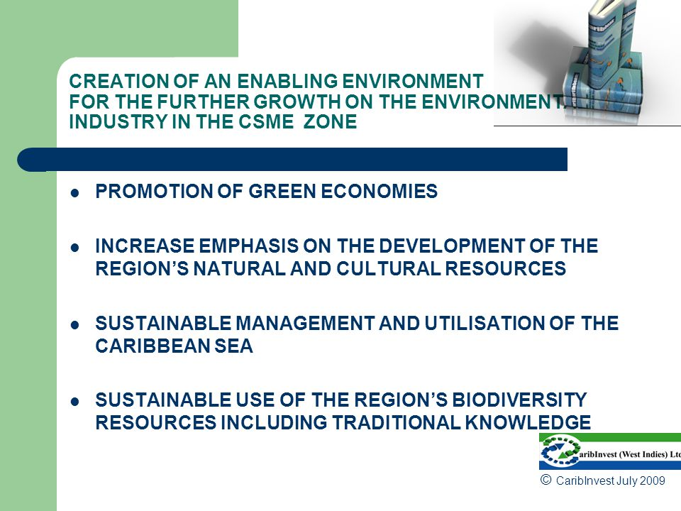 CREATION OF AN ENABLING ENVIRONMENT FOR THE FURTHER GROWTH ON THE ENVIRONMENTAL INDUSTRY IN THE CSME ZONE PROMOTION OF GREEN ECONOMIES INCREASE EMPHASIS ON THE DEVELOPMENT OF THE REGION'S NATURAL AND CULTURAL RESOURCES SUSTAINABLE MANAGEMENT AND UTILISATION OF THE CARIBBEAN SEA SUSTAINABLE USE OF THE REGION'S BIODIVERSITY RESOURCES INCLUDING TRADITIONAL KNOWLEDGE © CaribInvest July 2009