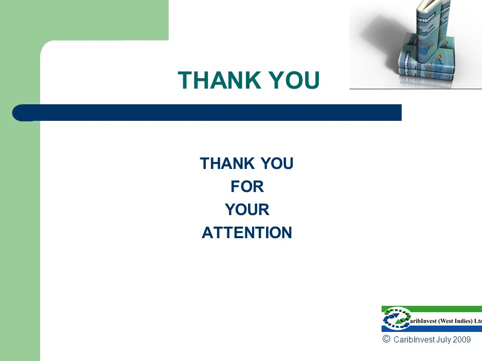 THANK YOU THANK YOU FOR YOUR ATTENTION © CaribInvest July 2009