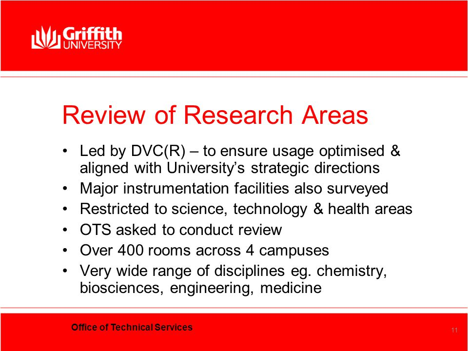 Office of Technical Services 11 Review of Research Areas Led by DVC(R) – to ensure usage optimised & aligned with University's strategic directions Ma