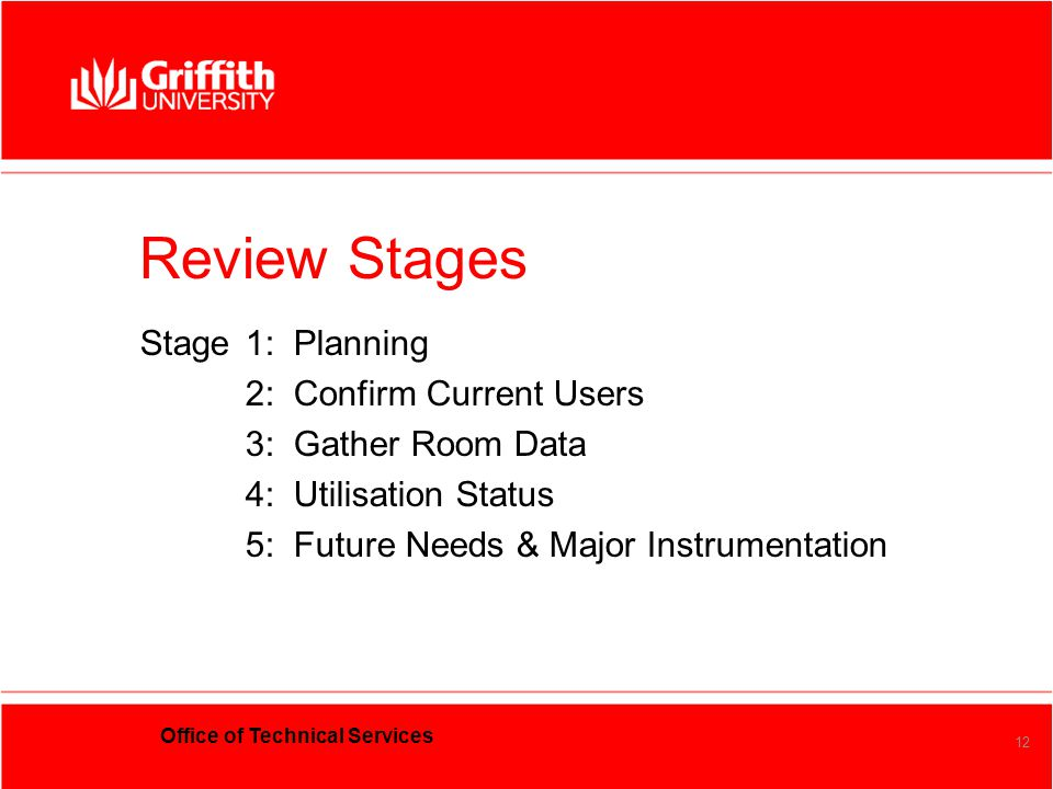 Office of Technical Services 12 Review Stages Stage1: Planning 2: Confirm Current Users 3: Gather Room Data 4: Utilisation Status 5: Future Needs & Ma