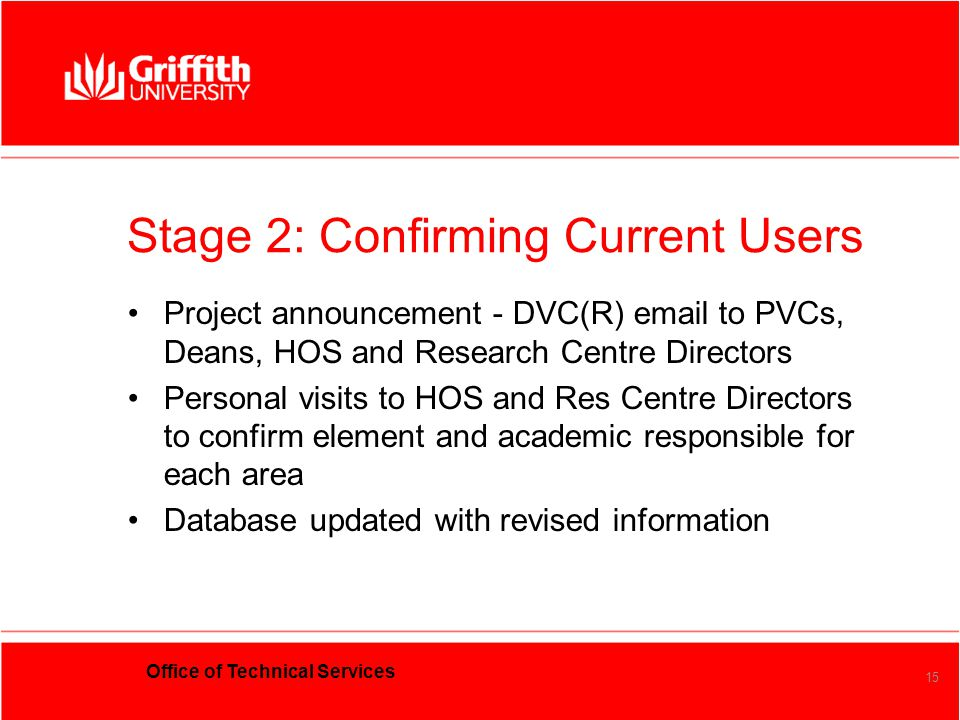 Office of Technical Services 15 Stage 2:Confirming Current Users Project announcement - DVC(R) email to PVCs, Deans, HOS and Research Centre Directors