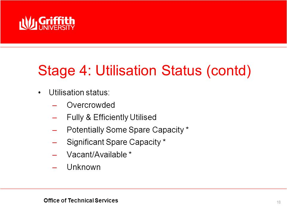 Office of Technical Services 18 Stage 4:Utilisation Status (contd) Utilisation status: –Overcrowded –Fully & Efficiently Utilised –Potentially Some Sp