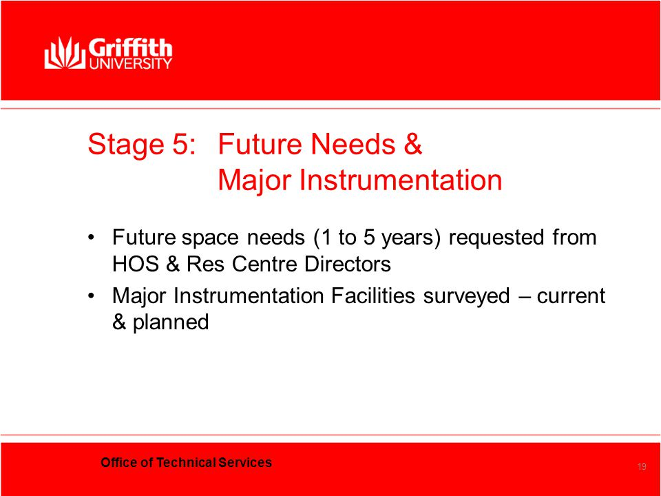 Office of Technical Services 19 Stage 5:Future Needs & Major Instrumentation Future space needs (1 to 5 years) requested from HOS & Res Centre Directo