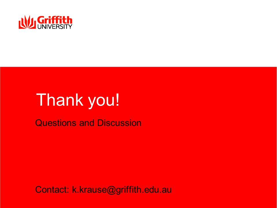 Thank you! Questions and Discussion Contact: k.krause@griffith.edu.au