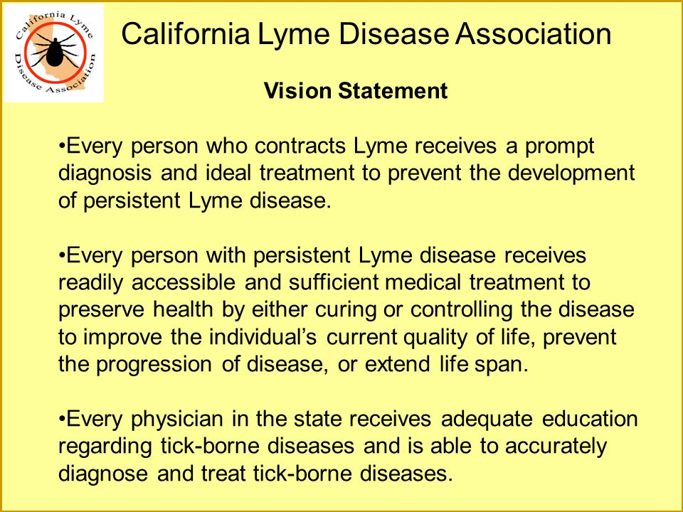 Vision Statement Every person who contracts Lyme receives a prompt diagnosis and ideal treatment to prevent the development of persistent Lyme disease