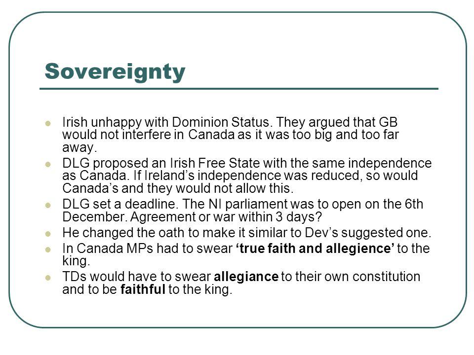 Sovereignty Irish unhappy with Dominion Status.