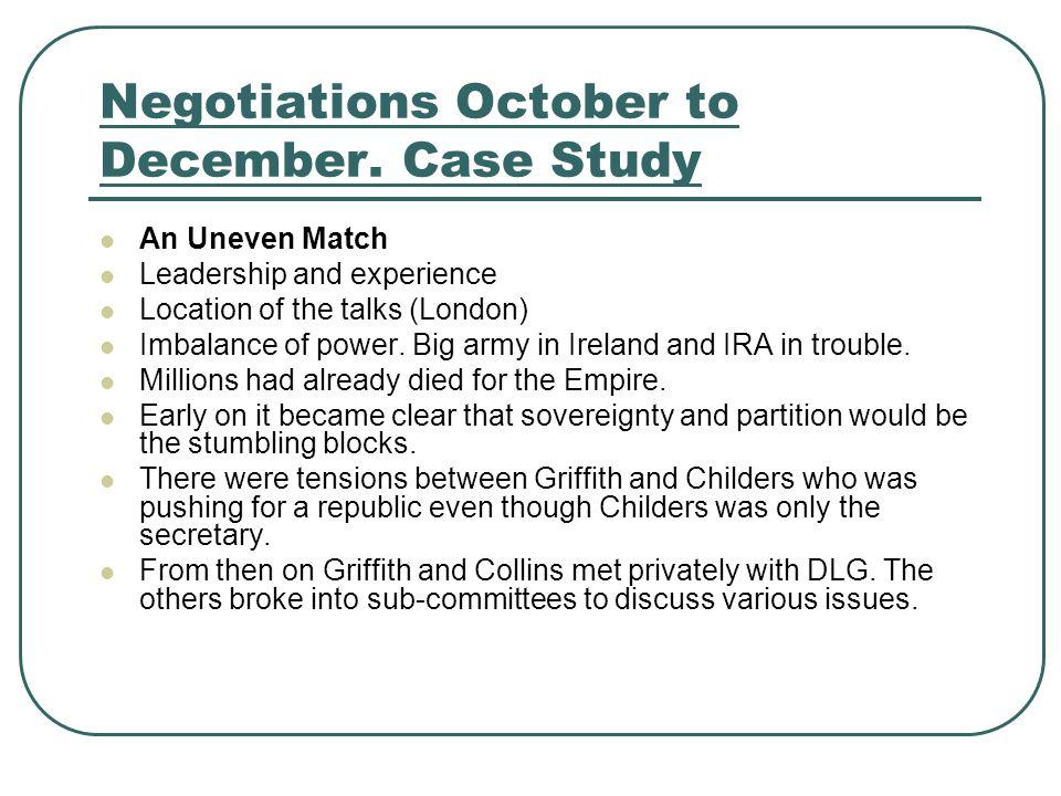 Negotiations October to December.