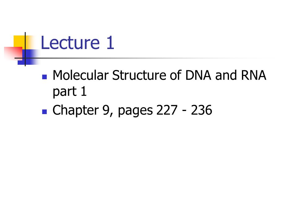 Lecture 1 Molecular Structure of DNA and RNA part 1 Chapter 9, pages 227 - 236