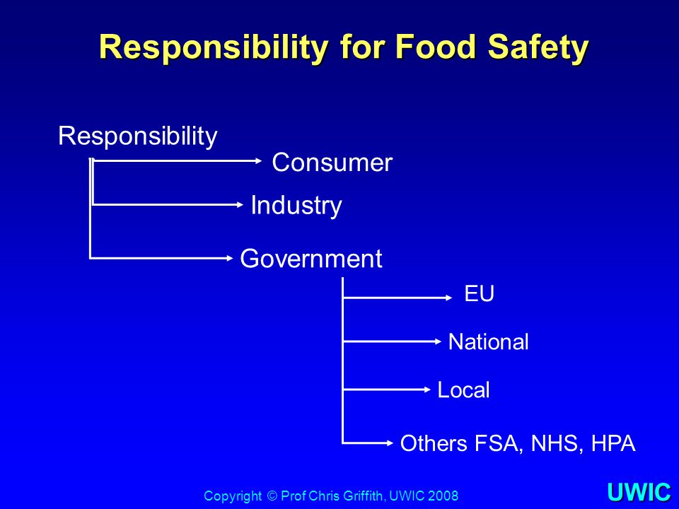 UWIC Responsibility for Food Safety Responsibility for Food Safety Copyright © Prof Chris Griffith, UWIC 2008 Responsibility Consumer Industry Governm