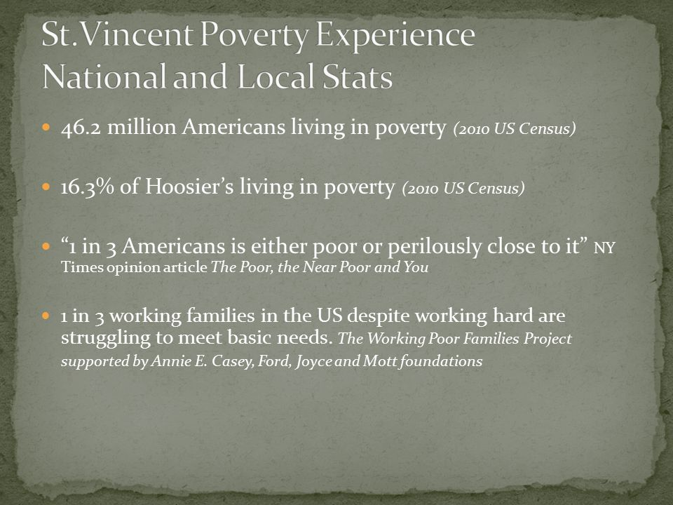 46.2 million Americans living in poverty (2010 US Census) 16.3% of Hoosier's living in poverty (2010 US Census) 1 in 3 Americans is either poor or perilously close to it NY Times opinion article The Poor, the Near Poor and You 1 in 3 working families in the US despite working hard are struggling to meet basic needs.