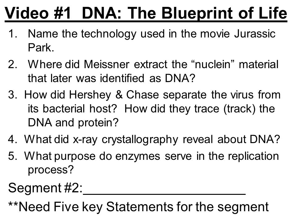Video #1 DNA: The Blueprint of Life 1.Name the technology used in the movie Jurassic Park.