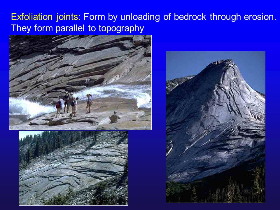 Exfoliation joints: Form by unloading of bedrock through erosion. They form parallel to topography