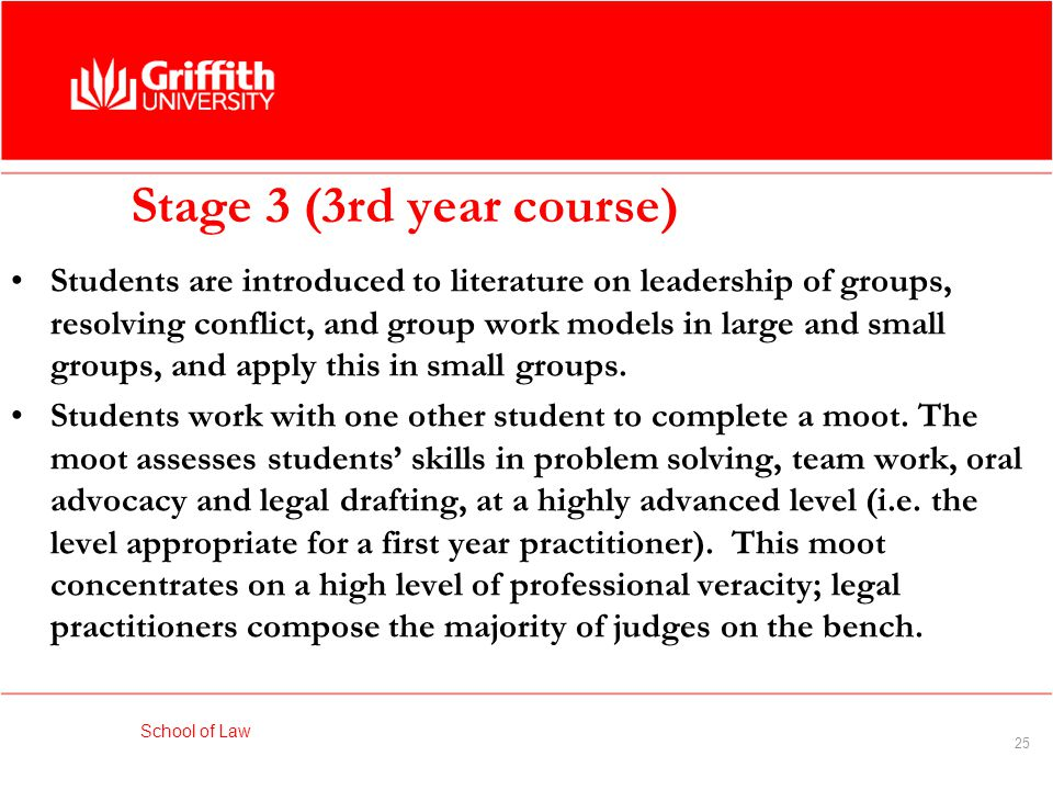School of Law 25 Stage 3 (3rd year course) Students are introduced to literature on leadership of groups, resolving conflict, and group work models in large and small groups, and apply this in small groups.