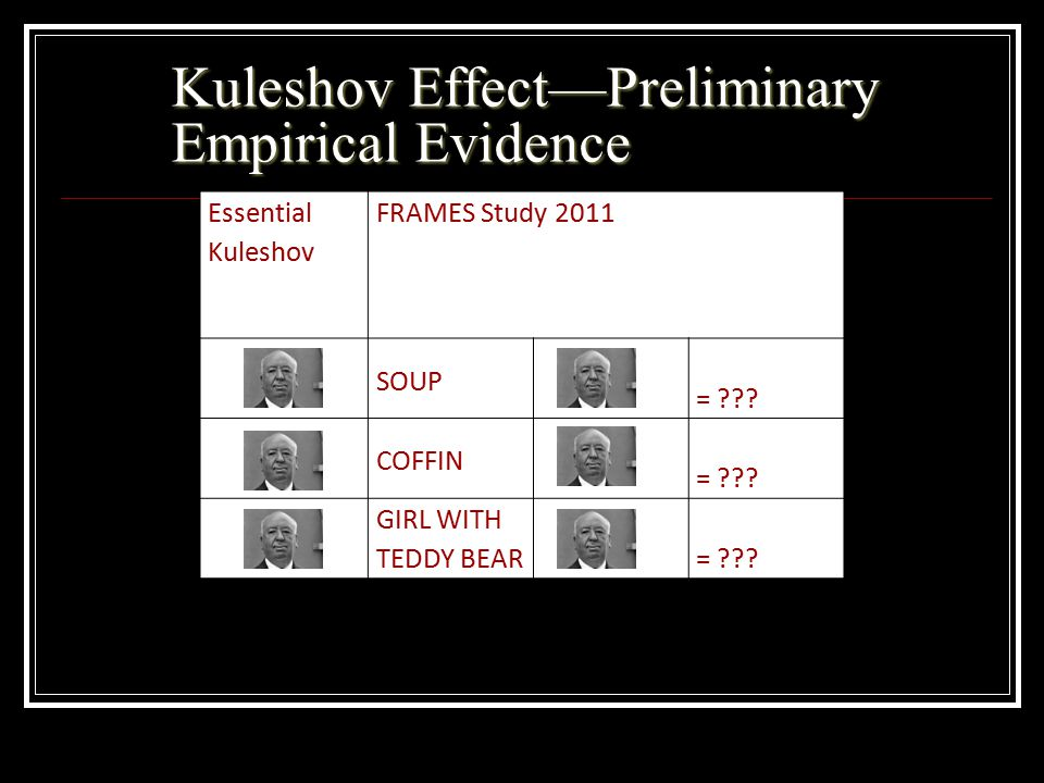 Kuleshov Effect—Preliminary Empirical Evidence Essential Kuleshov FRAMES Study 2011 SOUP = ??? COFFIN = ??? GIRL WITH TEDDY BEAR= ???