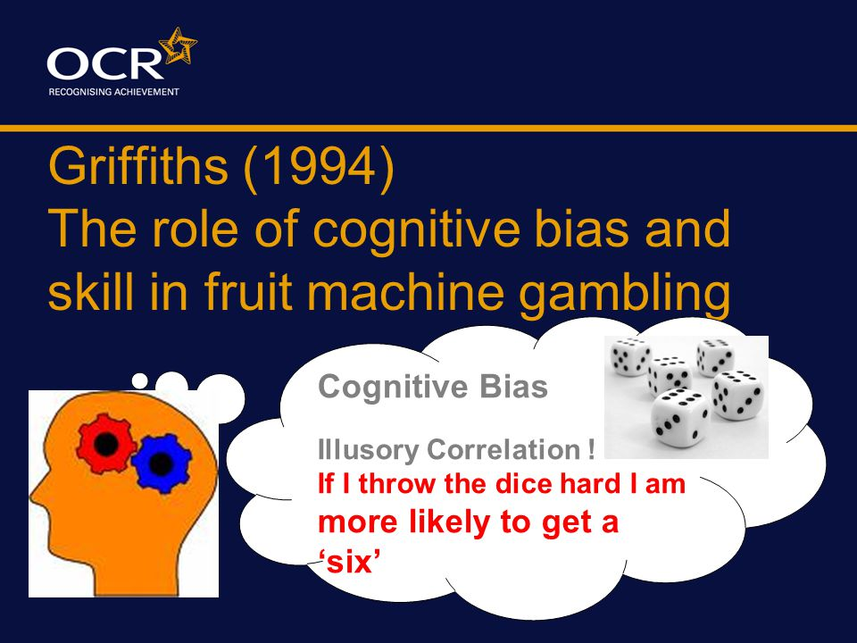 Griffiths (1994) The role of cognitive bias and skill in fruit machine gambling Behavioural FINDINGS: DV Non Regular NTA Regular NTA Non Regular TA Regular TA Total Plays 47.856.355.765.6 Total Time 8.48.511.59.9 Play Rate ** 6.57.55.38.4 End Stake 4.007.313.9 Win 6.18.08.36.0 Win rate - time 2.01.01.71.8 Win rate plays ** 12.57.58.014.6