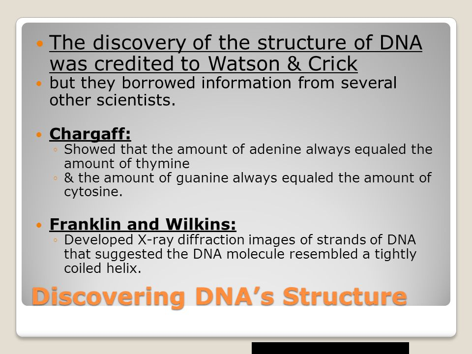 Discovering DNA's Structure The discovery of the structure of DNA was credited to Watson & Crick but they borrowed information from several other scientists.