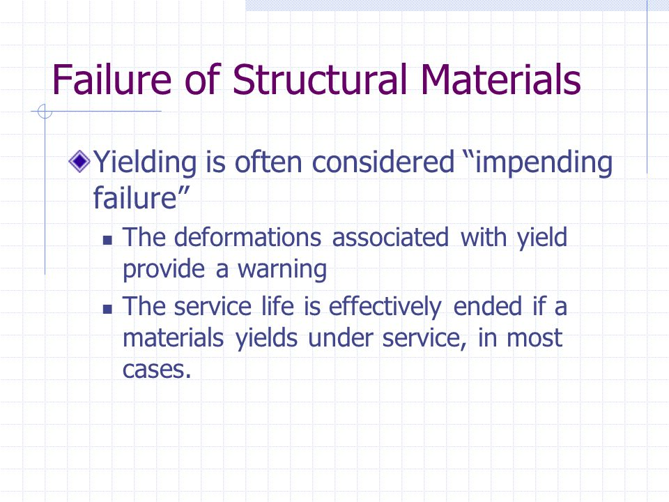 """Failure of Structural Materials Yielding is often considered """"impending failure"""" The deformations associated with yield provide a warning The service"""