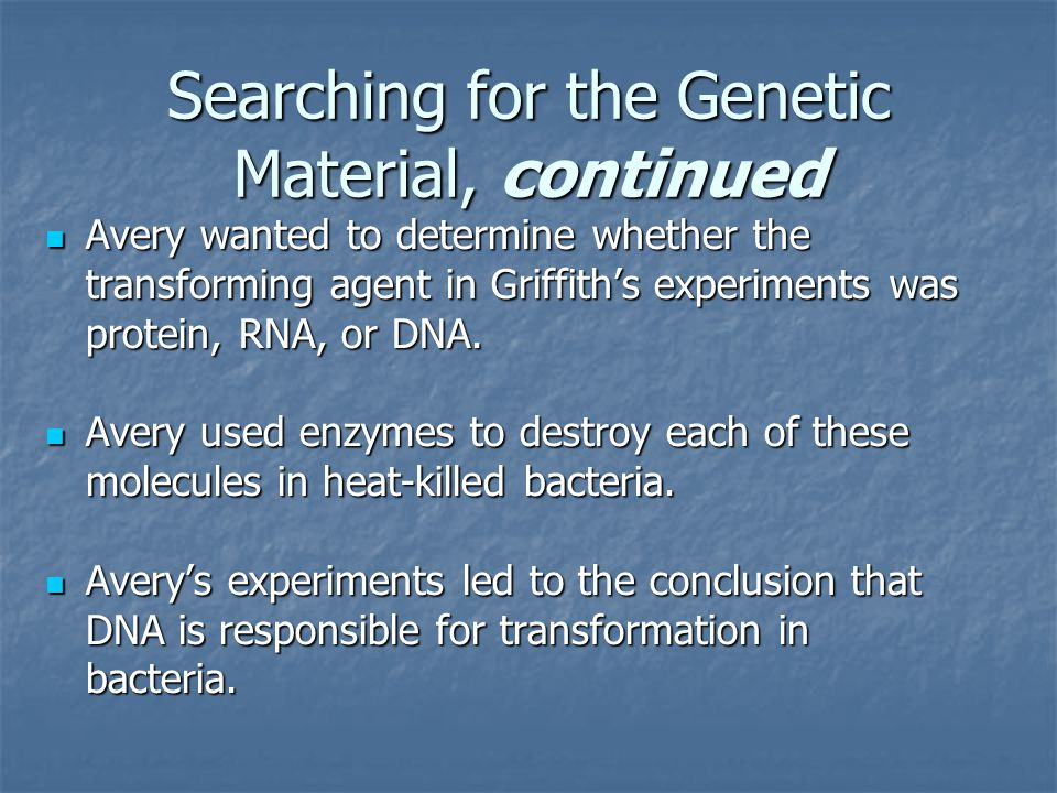 Searching for the Genetic Material, continued Hershey and Chase studied bacteriophages.