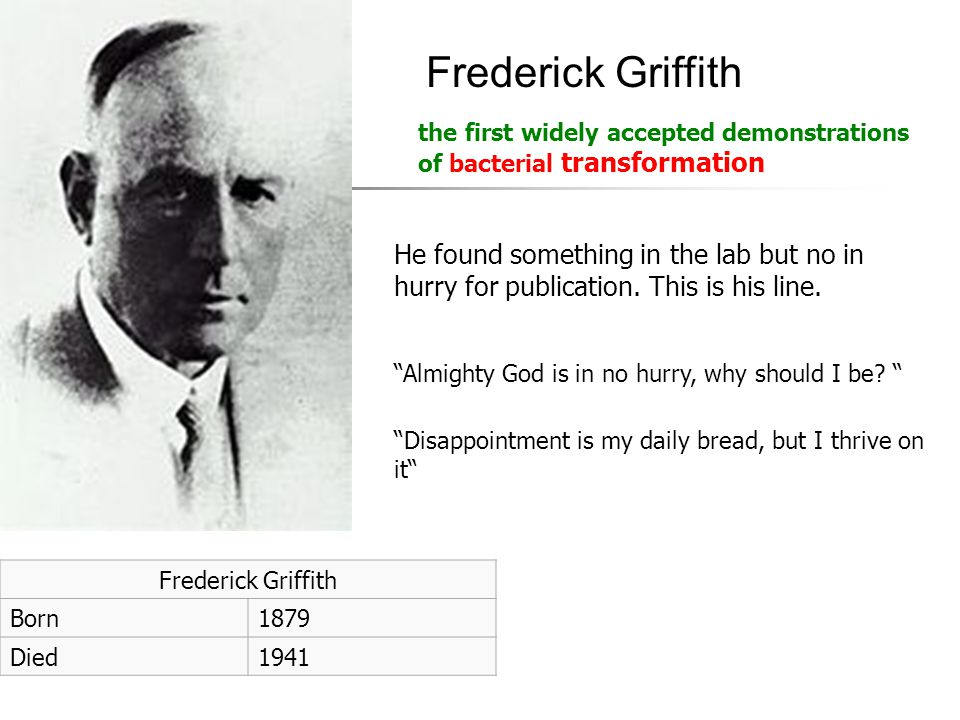 "Frederick Griffith Born1879 Died1941 Frederick Griffith ""Almighty God is in no hurry, why should I be? "" ""Disappointment is my daily bread, but I thri"