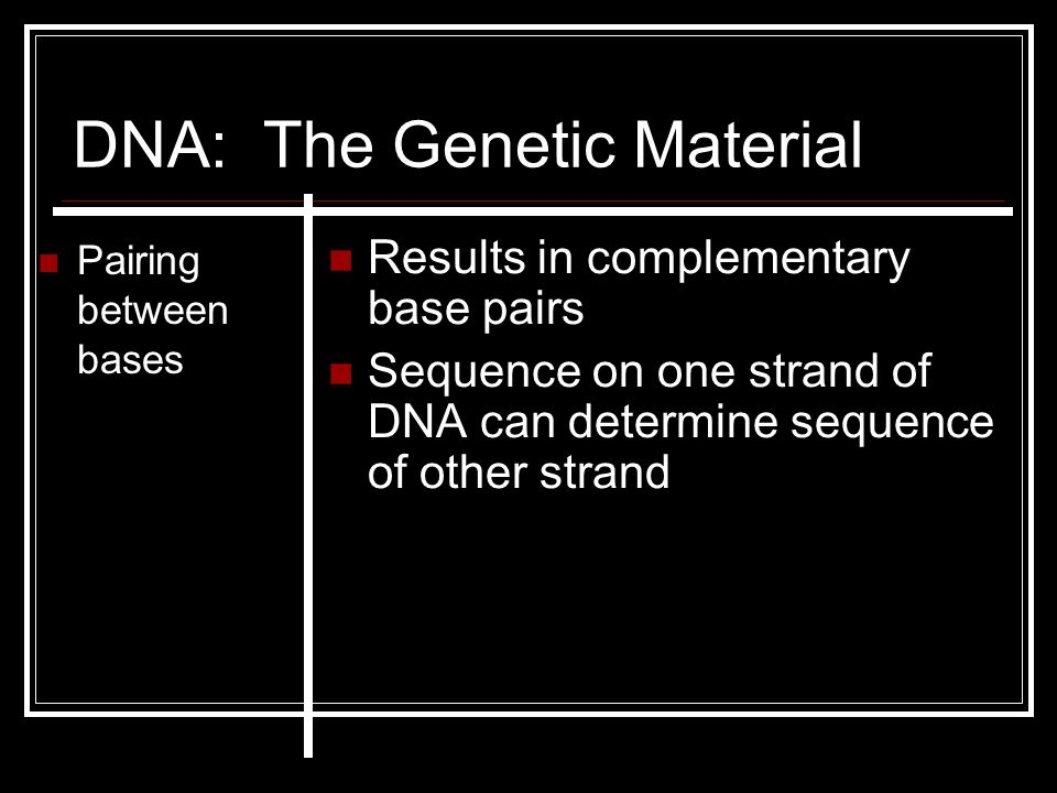 DNA: The Genetic Material Pairing between bases Results in complementary base pairs Sequence on one strand of DNA can determine sequence of other stra