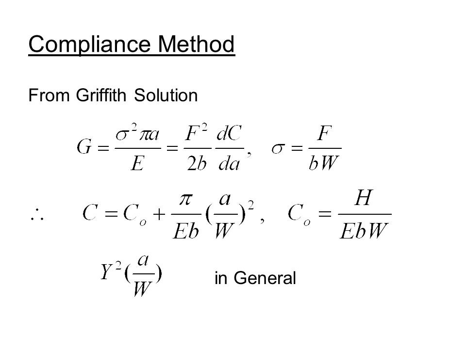 Compliance Method From Griffith Solution in General