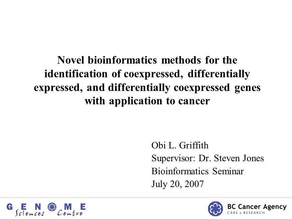 Novel bioinformatics methods for the identification of coexpressed, differentially expressed, and differentially coexpressed genes with application to cancer Obi L.
