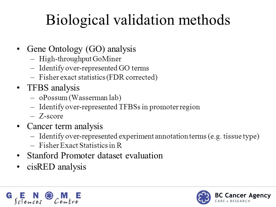 Biological validation methods Gene Ontology (GO) analysis –High-throughput GoMiner –Identify over-represented GO terms –Fisher exact statistics (FDR corrected) TFBS analysis –oPossum (Wasserman lab) –Identify over-represented TFBSs in promoter region –Z-score Cancer term analysis –Identify over-represented experiment annotation terms (e.g.