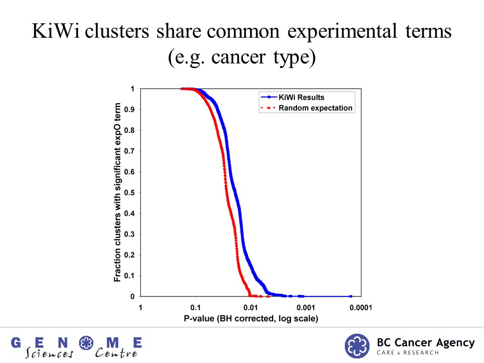 KiWi clusters share common experimental terms (e.g. cancer type)