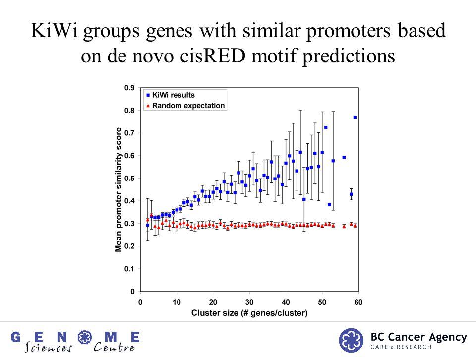 KiWi groups genes with similar promoters based on de novo cisRED motif predictions