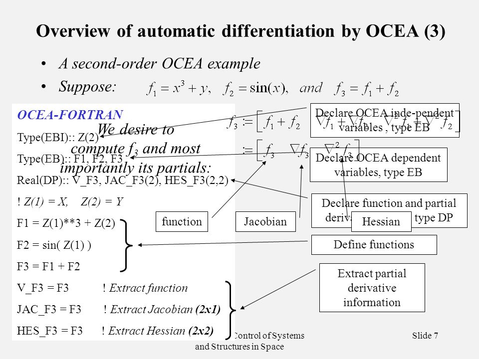 Dynamics and Control of Systems and Structures in Space Slide 7 Overview of automatic differentiation by OCEA (3) A second-order OCEA example Suppose: OCEA-FORTRAN Type(EBI):: Z(2) Type(EB):: F1, F2, F3 Real(DP):: V_F3, JAC_F3(2), HES_F3(2,2) .