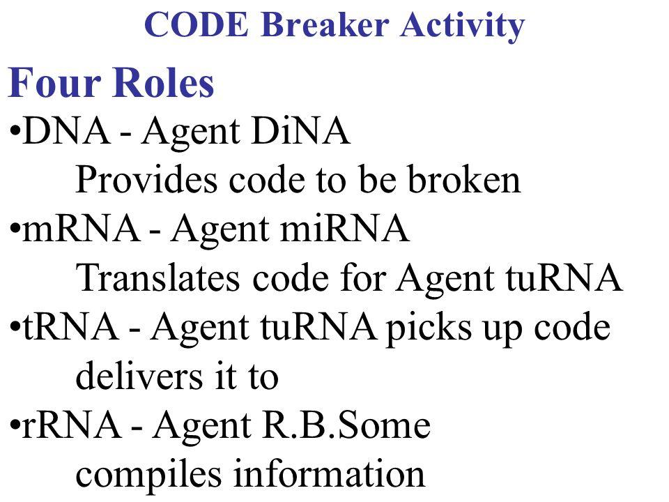 CODE Breaker Activity Four Roles DNA - Agent DiNA Provides code to be broken mRNA - Agent miRNA Translates code for Agent tuRNA tRNA - Agent tuRNA pic