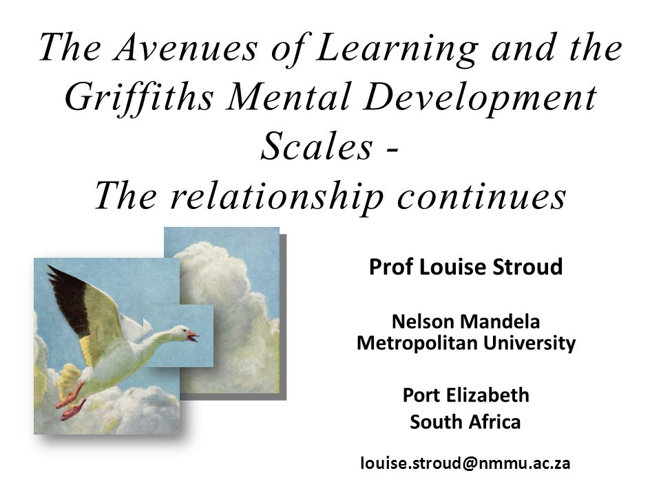 The Avenues of Learning and the Griffiths Mental Development Scales - The relationship continues Prof Louise Stroud Nelson Mandela Metropolitan Univer